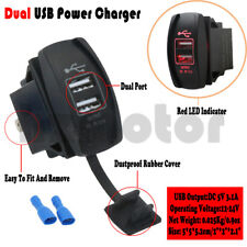 12V-24V Dual Ports Phone GPS USB Charger Car Boat Socket Red Light Waterproof