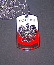 Royal Poland Polish Imperial War Battle Eagle Arm Pendant Chain Necklace Dog Tag
