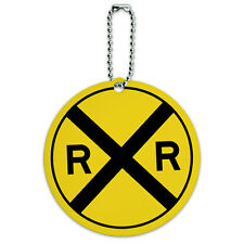 Railroad crossing Traffic Sign Train Round Luggage ID Tag Card Suitcase Carry-On