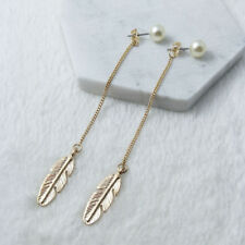 Elegant Women Gold Pearl Leaf Dangle Thread Long Threader Earrings