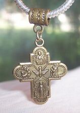 Bronze Four-Way Medal Cross Catholic Dangle Bead for European Charm Bracelets