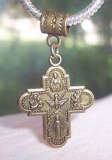 Bronze Four-Way Medal Cross Catholic Dangle Bead for European Charm Bracelets