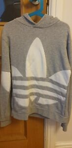 Boys adidas hooded jumper. Age 10-11 light grey and white excellent condition