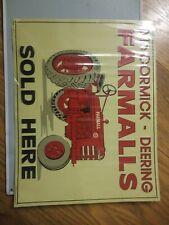 McCormick Deering FARMALL FARMALLS SOLD HERE EMBOSSED METAL TIN TRACTOR SIGN