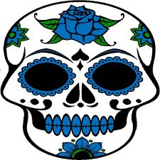 30 Custom Blue Rose Sugar Skull Personalized Address Labels