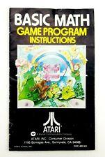 Basic Math Atari 2600 Instruction Booklet Manual Only L2