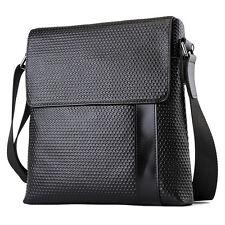 Men's Real Genuine leather Black Satchel Shoulder Messenger School bag For iPad