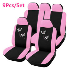 9Pcs Pink Women Car Seat Cover Butterfly Embroidery Seat Protector Mat Universal