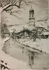 Paul Geissler German Art Etching 1922 Pencil Signed Oberammergau Listed 03630