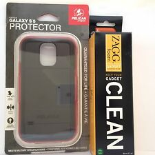 Brand New Pelican Black Protector Case Cover Samsung Galaxy S5 w'ZAGG Cleaner