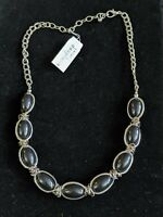Carol Dauplaise Silver Tone Black Cabochon Bead Chain Wrapped Necklace