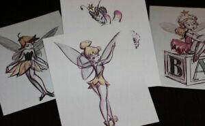 Tinker Bell Walt Disney Studios Concept Drawings LOT OF 4 Peter Pan 2005 1952