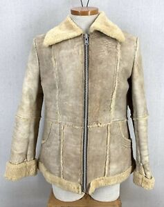 Vintage 70's Shetland Bay Wools Suede & Shearling Western Jacket Womens Sz 13/14