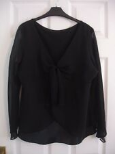 Ladies' Black Chiffon & Satin Blouse Size 16