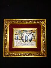 ArtistSigned`Saso`Attractive GoldGilt Framed  Enamel on Copper Great Collectible