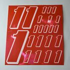 PINK CHROME w/White #1's Decal Sticker Sheet DEFECTS  1/8-1/10-1/12 RC Mo BoxD