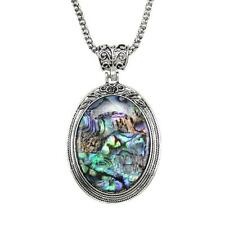 Women Sweater Long Chain Silver Color Necklace Oval Abalone Shell Pendant 23.5""