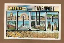 Greeting from Davenport in Black, IOWA views in large Letters