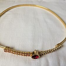 "Vintage Accessocraft Gold Tone Red Rhinestone Stretch Belt 31""-33"""