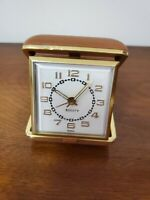 Vintage EQUITY Wind Up Travel Alarm Clock Brown Clam Shell Case