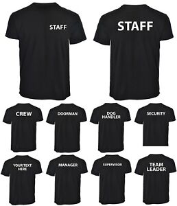 Security Staff Doorman Crew Manager Supervisor Printed Black T-Shirts Workwear