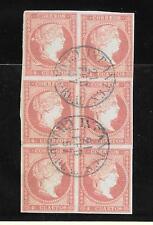 España. Bloque de 6 sellos del 4 ctos con matasello de fecha azul Tipo I