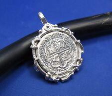 Sterling Silver Skeleton Bone Wrapped Atocha Shipwreck Coin Cob Replica Pendant