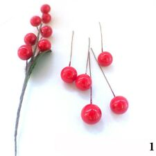 100X Christmas Tree Cherry Red/Gold Fruit Ball Branch Wreath Ornament Xmas Decor