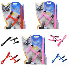 Safety Walking Rope Cat Puppy Adjustable Harness Collar Nylon Leash Lead 4 Color