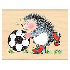 PENNY BLACK RUBBER STAMPS HEDGEHOG GAME ON SOCCER NEW wood STAMP