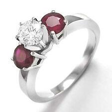 Ring 14k Sizes 4 to 9.5 #R821 Three Stone Round Diamond & Ruby Engagement