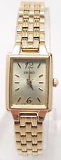 Ladies Seiko Small Square Gold Tone Stainless Steel Gold Dial Watch SXGL62
