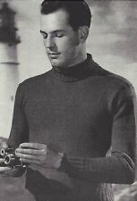 Vintage Knitting PATTERN to make 40s Men's Classic Turtle Neck Sweater Pullover