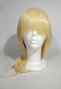 Purple Plum Wig Flaxen Blond Cosplay Blond Medium Length Straight with Bangs