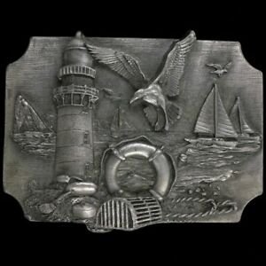 Sailboat Sail Sailing Nautical Boat Lighthouse Art Hippie Vintage Belt Buckle