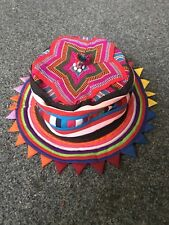 1725448b317 FESTIVAL rave party Hat Tribal hippy handmade FLAT ROUNDED HAT