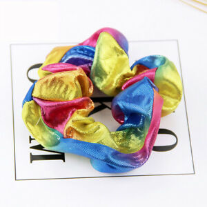 Shiny Colorful Cloth Hair Ring Rope Ties Rubber Band Women Headwear Scrunchies