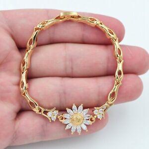 18K Yellow Gold Filled Women Clear Mystic Topaz Sunflower Bracelet Jewelry