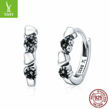Authentic 925 Sterling Silver Hearts Dating Hoop Earrings Black CZ Shiny Jewelry