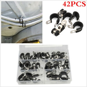 42Pcs 5 Kinds Rubber Cushion Insulated Cable Clamp Kit Fit For Automotive Hose