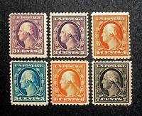 Scott US # 501, 502, 503, 504, 506, 507 - 1917-19; MNH/MH; OG; CV=$112.50