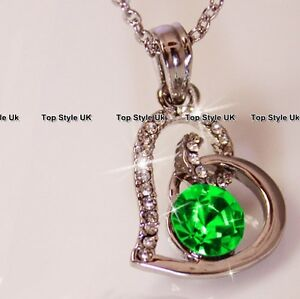 Womens Birthday Gifts for Her Heart Necklace Emerald Green Diamond Pendant J238A