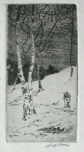 Vtg. Orig. Miniature Etching by John Wesley Cotton -- Mountain Winter Evening