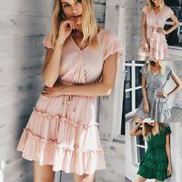 Women's Sexy Slim Mini Dress Lady Nightclub V Neck Lotus Sleeve Ball Gown Dress