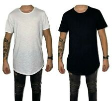 Men's Basic T-Shirt Casual Extended Length Long Fashion Tee Crew Neck Hipster