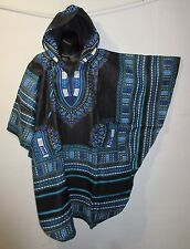 Top Dress Fits M L XL Hoodie Black Blue African Dashiki Tribal Hood NWT G841