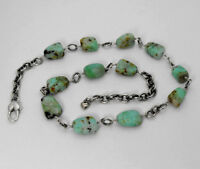 Vintage Arizona Navajo Sterling Silver Link Necklace with Nugget Turquoise 34gr