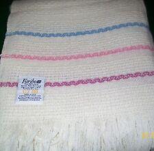 Wool Woven Blanket FARIBO-Ivory w/Blue,Pink,Mauve Stripes Vintage -UNUSED