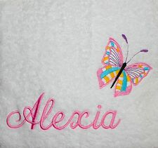 EMBROIDERED monogrammed PERSONALISED-   Butterfly - XMAS GIFT - PLUSH Bath Towel