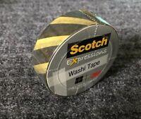 "Scotch Expressions Washi Crafting Tape Yellow Black Stripes .59"" X 10.9Yd"